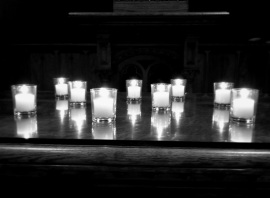 votive candles on altar