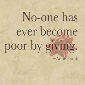 Anne Frank quote, giving